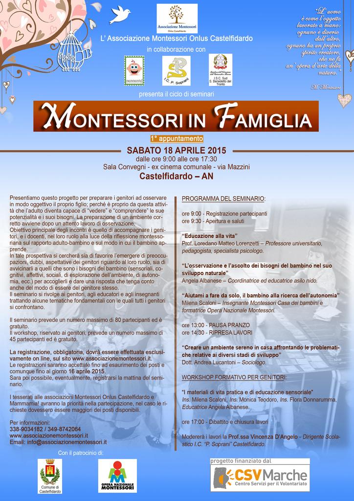 """""""MONTESSORI IN FAMIGLIA"""""""